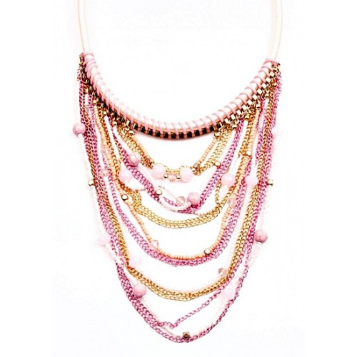 6d022539cc Gyöngy és lánc medálos nyaklánc rózsaszín 0X42